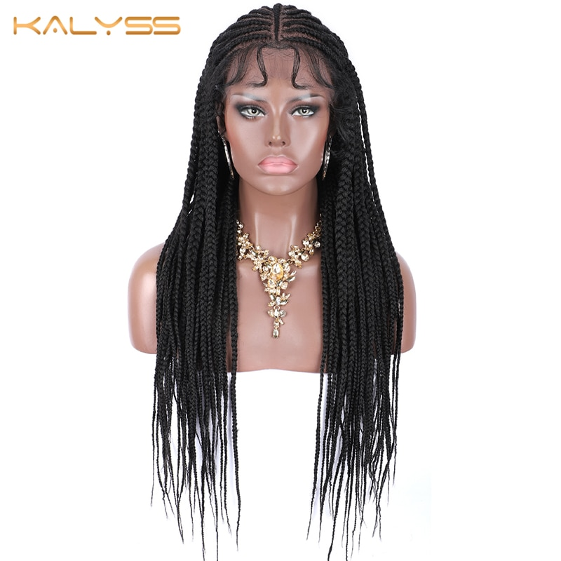 Kalyss 30 Inches Synthetic Long Box Braids Hair 13X7 Lace Parting Hand Braided Lace Front Wigs For Women