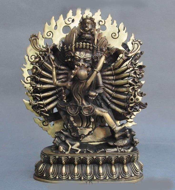 """Navidad 12 """"tibet, budismo latón 1000 brazo Yamantaka Hayagriva exorcismo estatua de Dios Buda decoración de la boda"""