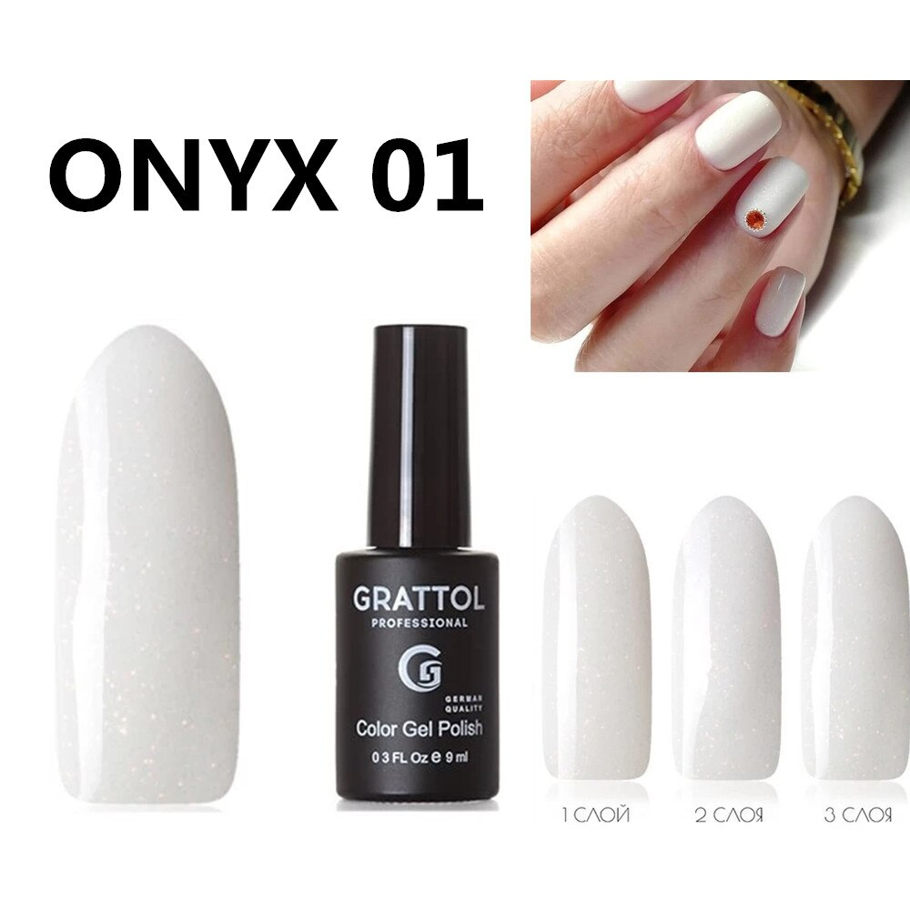 GRATTOL Professional ONYX 01 White Glitter Nail Gel Polish Sequins UV Gel Nail Varnish Long Lasting