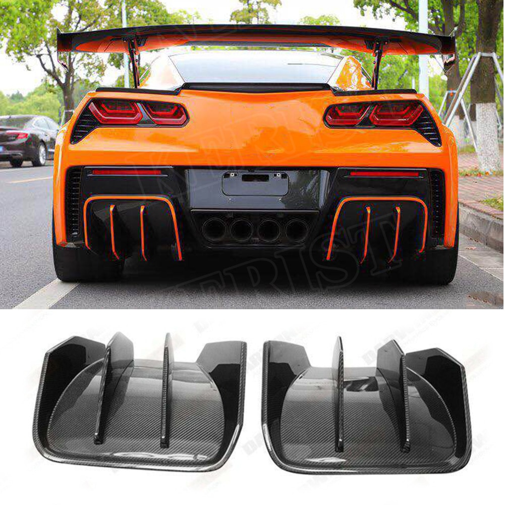 Difusor de fibra de carbono BKSS estilo trasero 2 uds apto para 2014-2019 Corvette C7 labio trasero Splitte accesorios de coche