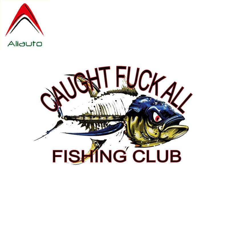 Aliauto Creative Funny Car Sticker Caught ALL Fishing Club Reflective Decal Waterproof Sunscreen PVC,15cm*10cm