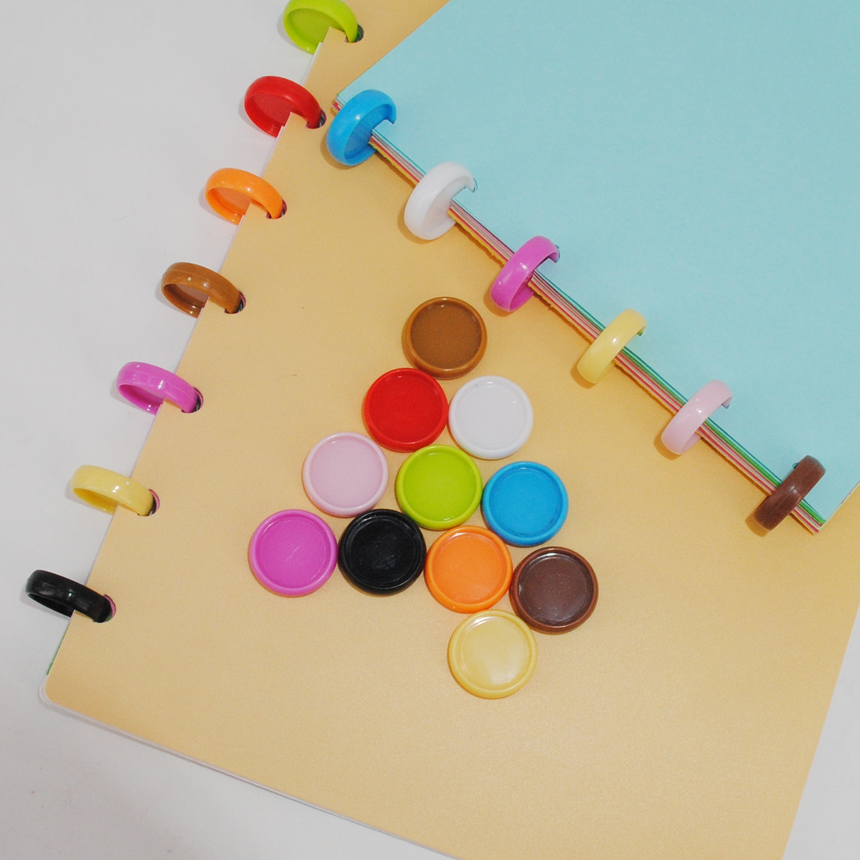200pcs 19mm Colorful Binder Rings Mushroom Hole Planner Ring Round Binding Plastic Disc Buckle Hoop DIY Notebook Binder Discs
