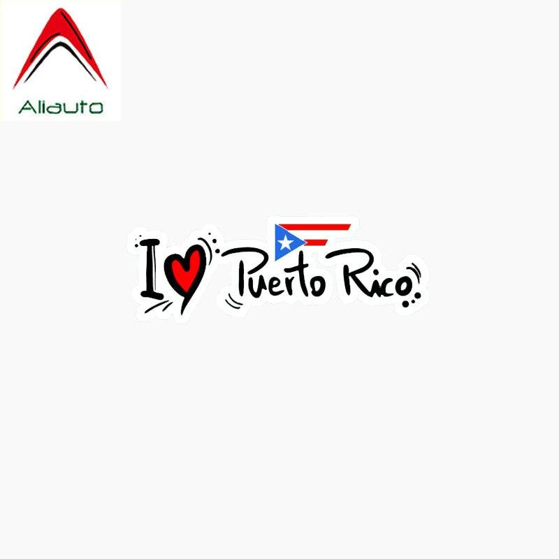 Aliauto pegatina de coche creativa me encanta Puerto Rico eslogan interés reflectante impermeable decoración calcomanía accesorios, 13cm * 4cm