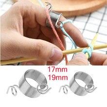 Herramienta de tejer de plata práctica portátil guías de hilo anillo aguja dedal accesorios de costura herramientas de costura de acero inoxidable