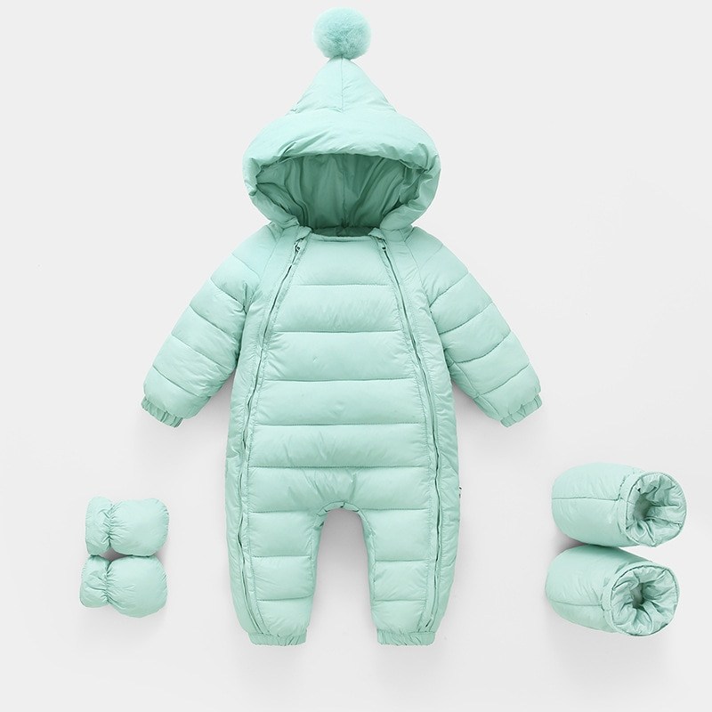 baby rompers kids infant winter newborn flannel jumpsuit pajamas thickken warm boys clothes girls hooded coat pant 2pcs set w142 2020 Autumn Winter Newborn Rompers Hooded Warm Cotton Baby Boys Jumpsuit Toddler Girls Snowsuit Infant Baby Girl Overalls