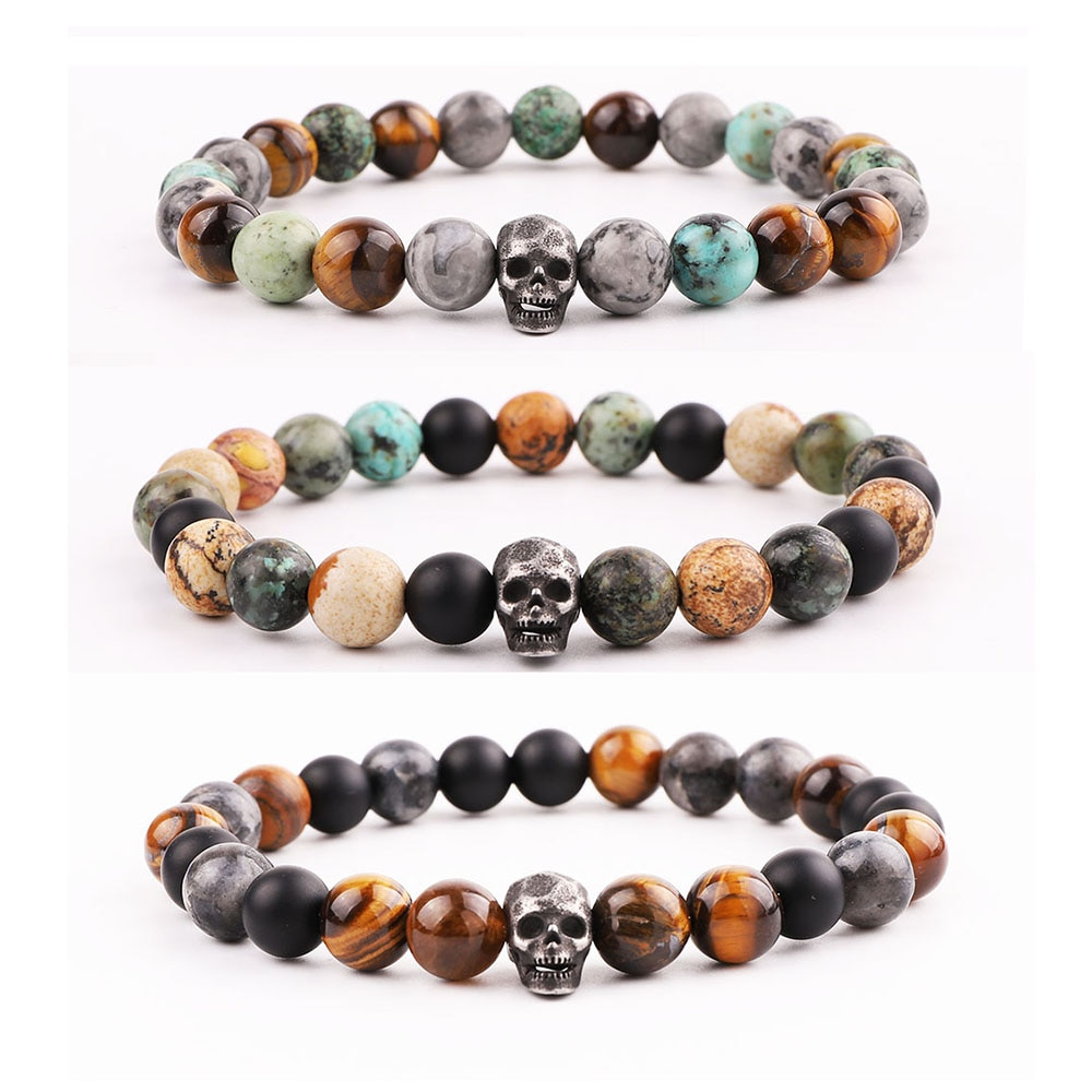 Men Bracelet Set New Design Stainless Steel Vintage Skull Charm Lion Natural Stone Tiger Eye Beads B