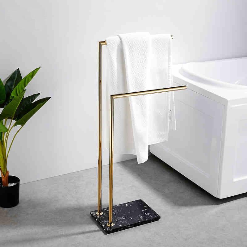 80 سنتيمتر التذهيب عالية معلقة منشفة بار حامل قاعدة الرخام لا اللكم/الحرة الطابق حامل حمام/رف حمام السكك الحديدية باللون الذهبي