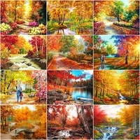 chenistory 60x75cm frame painting by numbers maple kits for adults handmade unique gift autumn landscape picture home decor