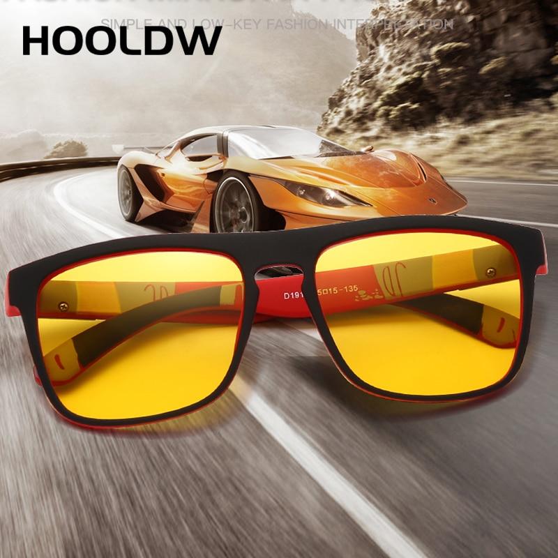 HOOLDW Night Vision Glasses Men Women Polarized Sunglasses Yellow Lens Anti-Glare Goggle Night Drivi