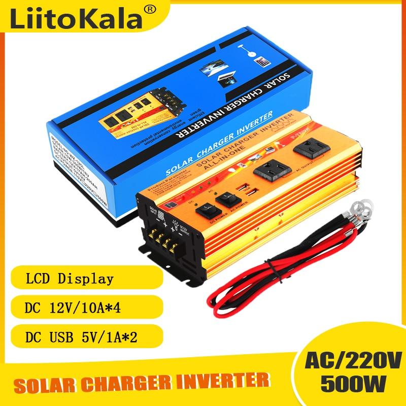 LiitoKala نقية شرط موجة العاكس تيار مستمر 12 فولت LiFePO4 بطارية إلى التيار المتناوب 220 فولت 300 واط/500 واط محول الجهد محول طاقة الشمسية العاكس