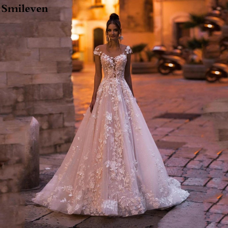 Smileven Princess Wedding Dress Cap A Line Lace 3D Flowers Bride Dresses Appliqued Wedding Gowns Backless Vestido De noiva