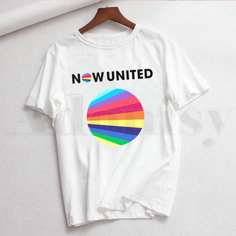 Harajuku 90s gráfico mujer de manga corta Camiseta ahora United Group Logo camiseta ropa coreana Streetwear