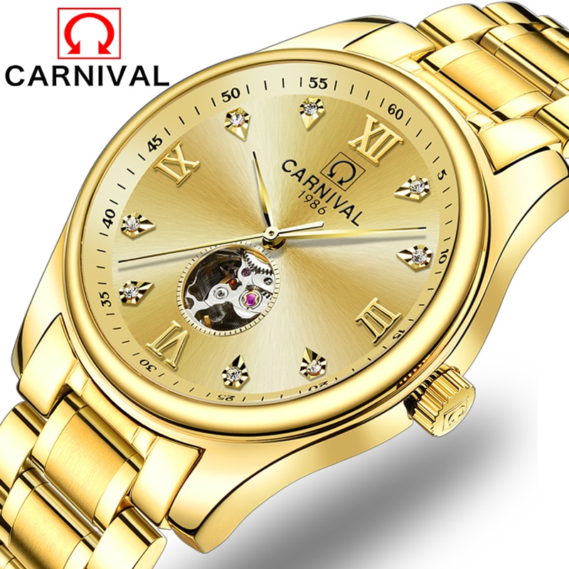 CARNIVAL New Fashion Business Men's Watch Gold Diamond Dial Stainless Steel Strap Automatic Mechanical Watches Reloj Hombre 8790
