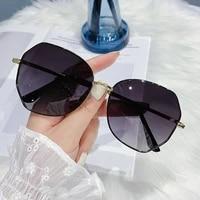 vintage rimless alloy aviation pilot sunglasses for men 2021 brand gradient sun glasses female metal oval shades black brown