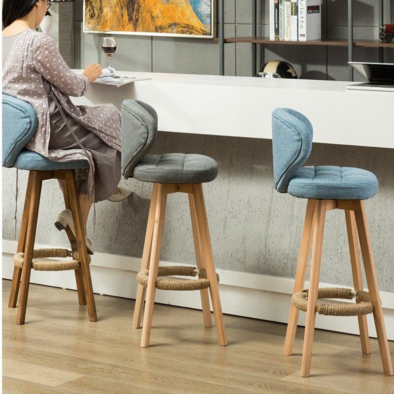 الحديثة وبسيطة المنزل الرجعية كرسي مرتفع ، شكل مستقيم ، خشب متين كرسي طويل الساق الدوارة ، مسند ظهر خشب متين