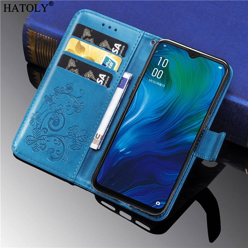 For Oppo Reno A Case Cover Flip Leather Wallet Card Holder Stand Case For Oppo Reno A Soft TPU Phone