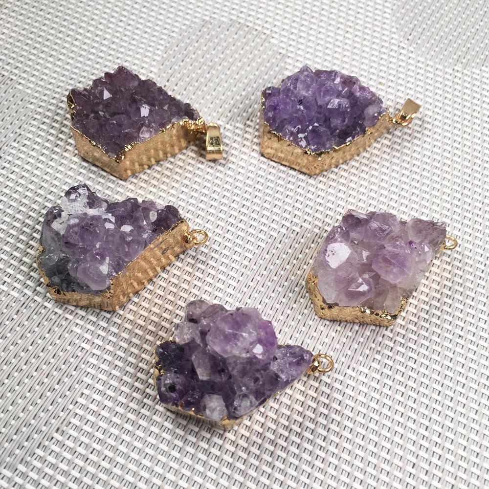 Irregular Shape Purple Quartzs Pendant Reiki Healing Natural Stone Amulet DIY Jewelry Personality Gift Size 20x35mm