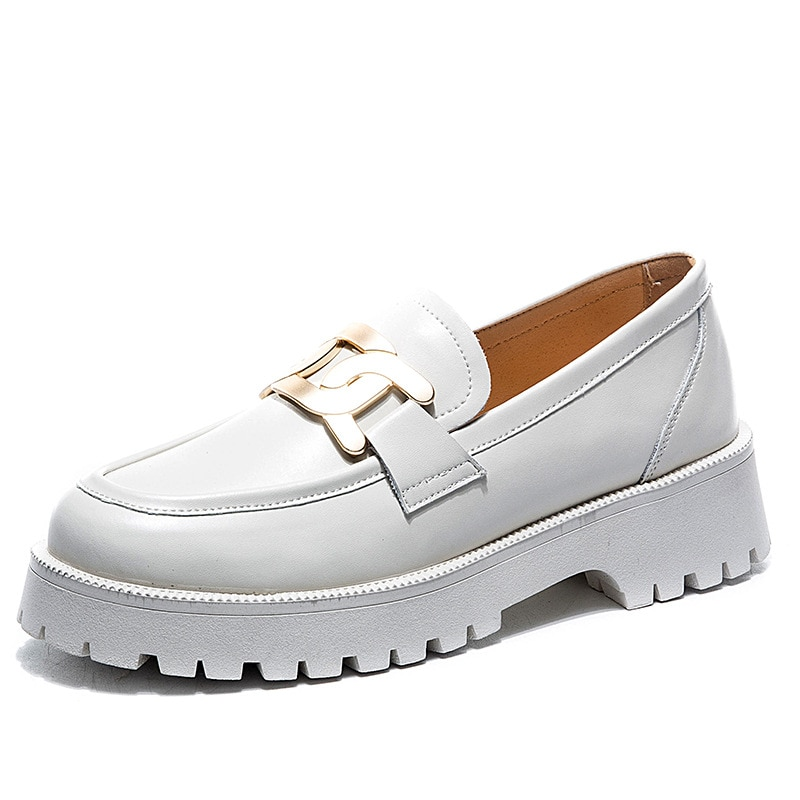 Classic Black White Loafers Shoes Women Spring 2021 Newly Thick-soled Sneakers Genuine Leather Casual Trend Girl Shoes Students