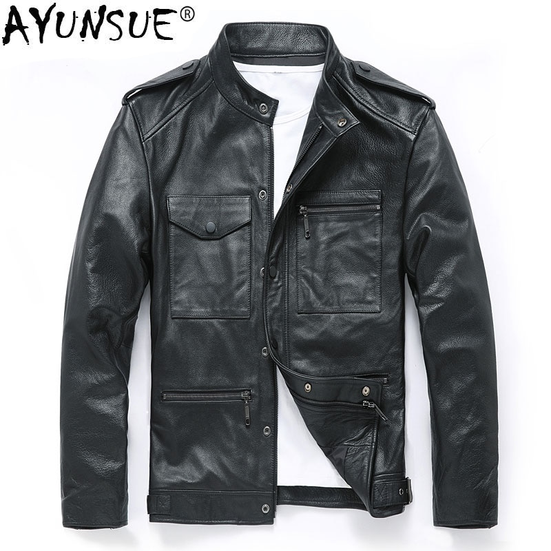 AYUNSUE Genuine Cow Leather Jacket Men Spring Autumn Cowhide Leather Coat Motorcycle Real Leather Jackets Plus Size YZX1953 KJ