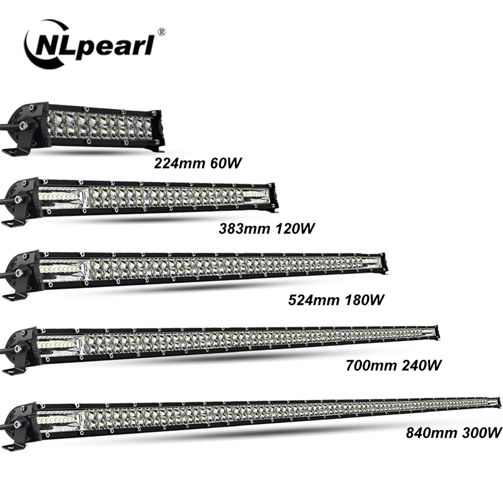 Nlpearl Ultra-Slim 60W 120W 180W 240W LED Bar for Tractor 4X4 UAZ Offroad 4WD ATV Truck Combo LED Wo