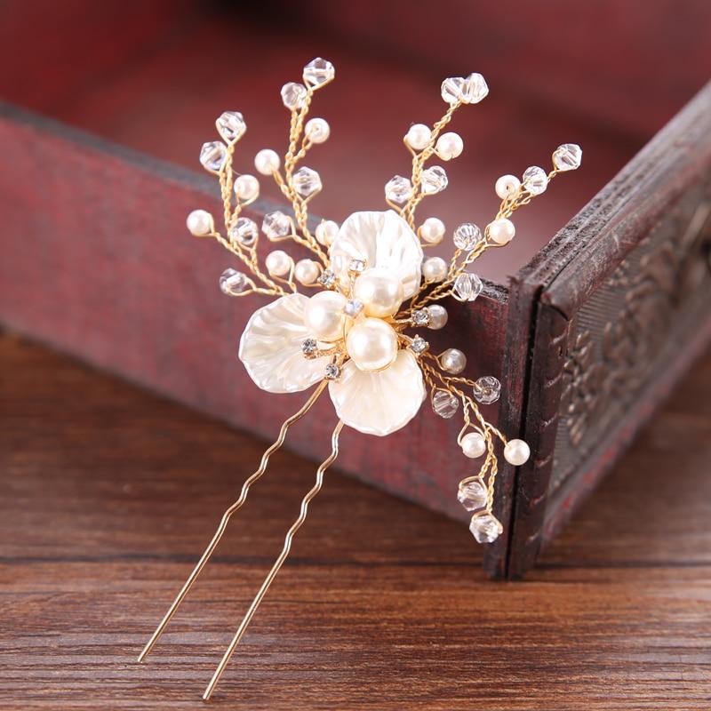 Ailibride ouro pérola strass flor casamento pinos de cabelo acessórios para o cabelo da noiva