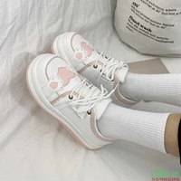 kawaii shoes women sneakers white round head platform causal sports student cute pink girl lolita fashion flats 2021 spring