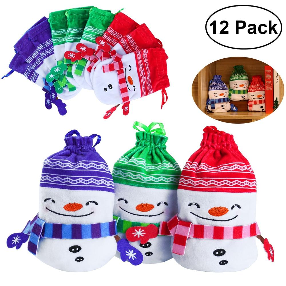 PBPBOX 12pcs Christmas Plush Drawstring Candy Bag Gift Pouch Christmas Holiday Decorative Supplies 3