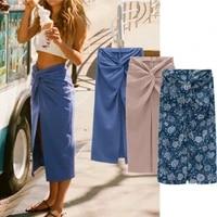 summer texture knot front split womens skirt high waist buttocks sexy zipper midi skirts women 2021 elegant fashion lady bottom