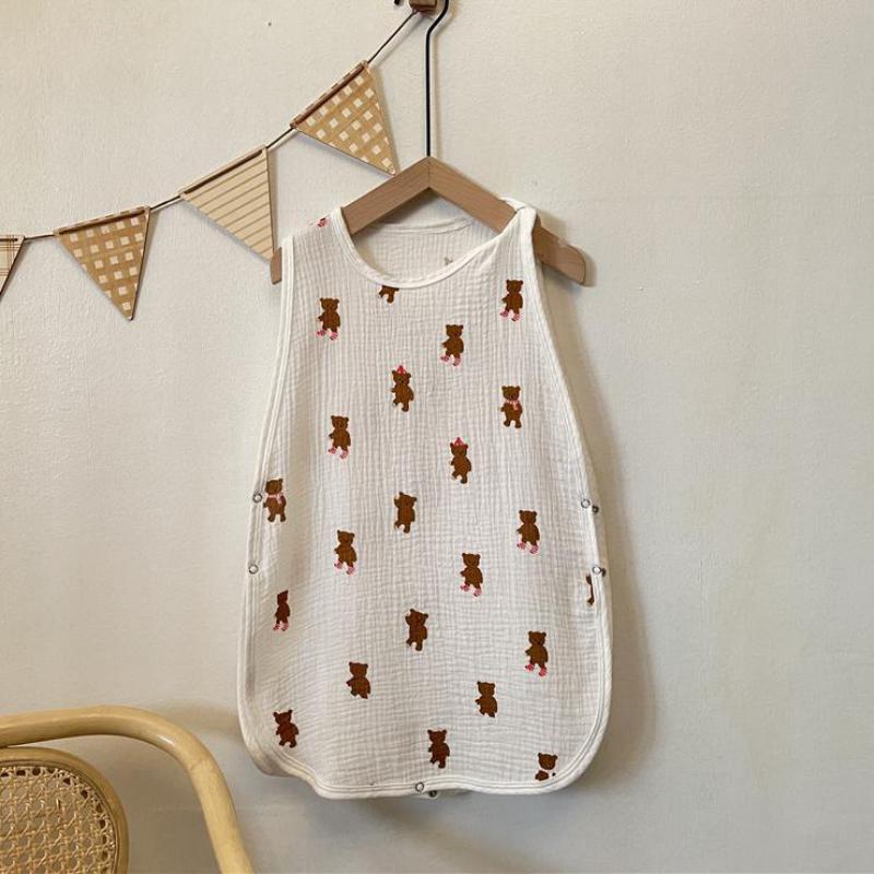 Autumn Newborn Sleepsack Wrap Cute Bear Print Baby Boy Sleeveless Vest Cotton Sleeping Bag Blanket B