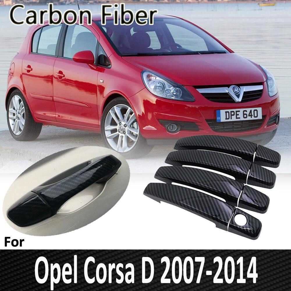 Fibra de carbono negro para Opel Corsa D 2007 ~ 2014 Vauxhall 2011 2012 2013, manija de puerta, accesorios para coche