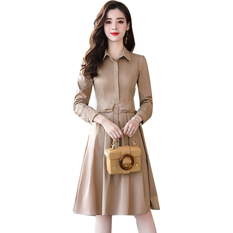 Estilo safari feminino turn-down colarinho botão vestidos feminino manga longa magro moda na altura do joelho dobra fina cintura vestidos aa321