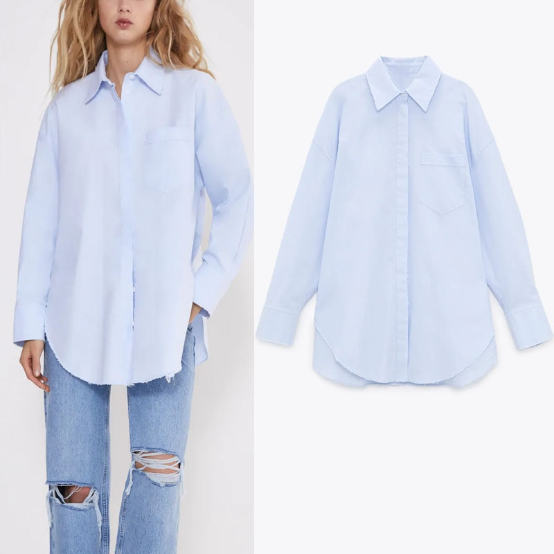 ZA Women Ripped Pocket Shirt 2020 Plus Size Loose Long Sleeve Asymmetric Top Female Fashion Side Vents Long Sky Blue Shirts