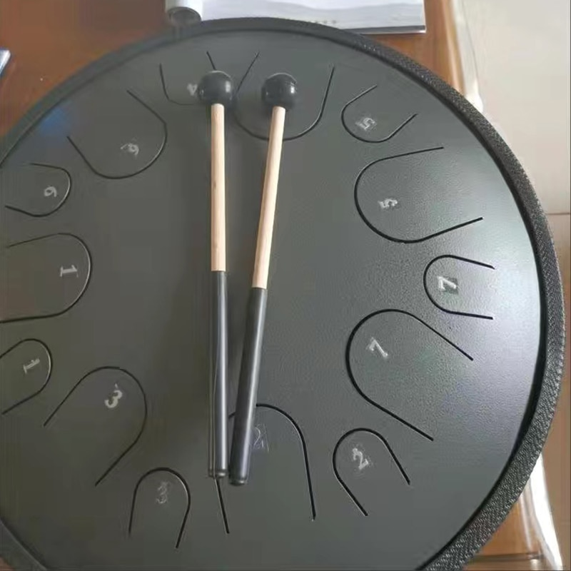 Professional New Design UFO Saucer 14 inch Steel Tongue Drum 14 key Tone Hand Pan Drum Tank Drumsticks Percussion Instruments enlarge