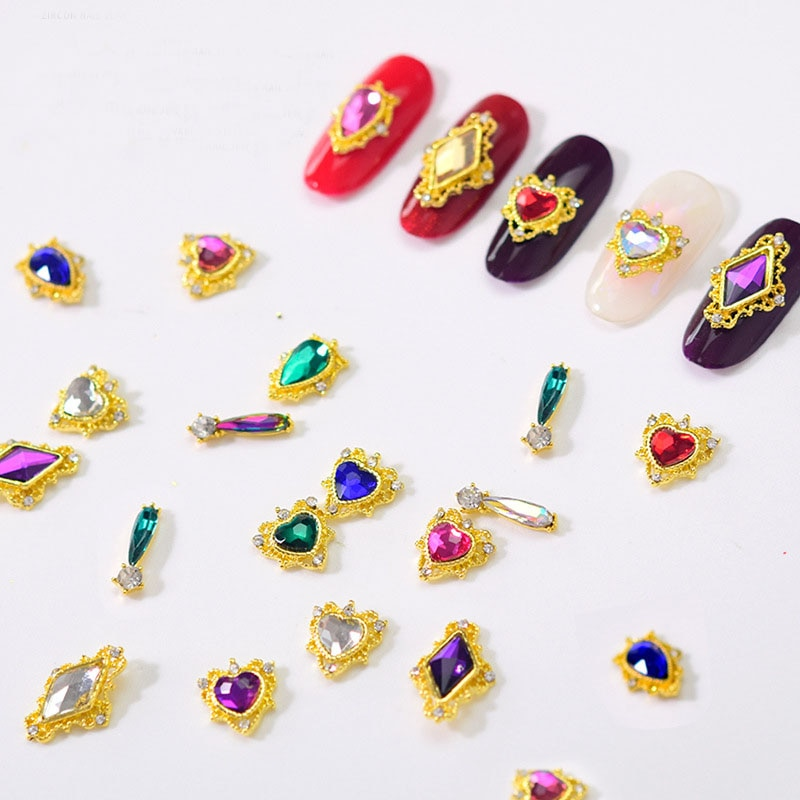 AliExpress - 10PCS Heart Rhombus Rhinestone Beauty Glitter Nails Charms Jewelry Accessories Metal for 3D Nail Art Decorations Hot New Arrival