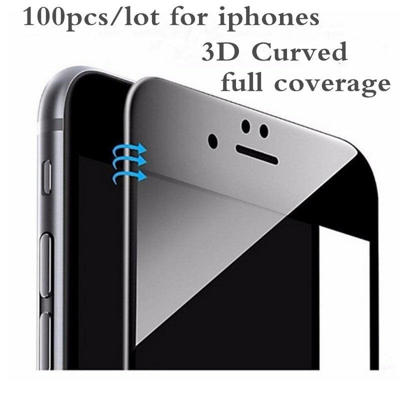 Protector de pantalla de fibra de carbono curvada 3D para iPhone cristal templado de borde suave para iPhone 6 6S 7 7 8 Plus pel