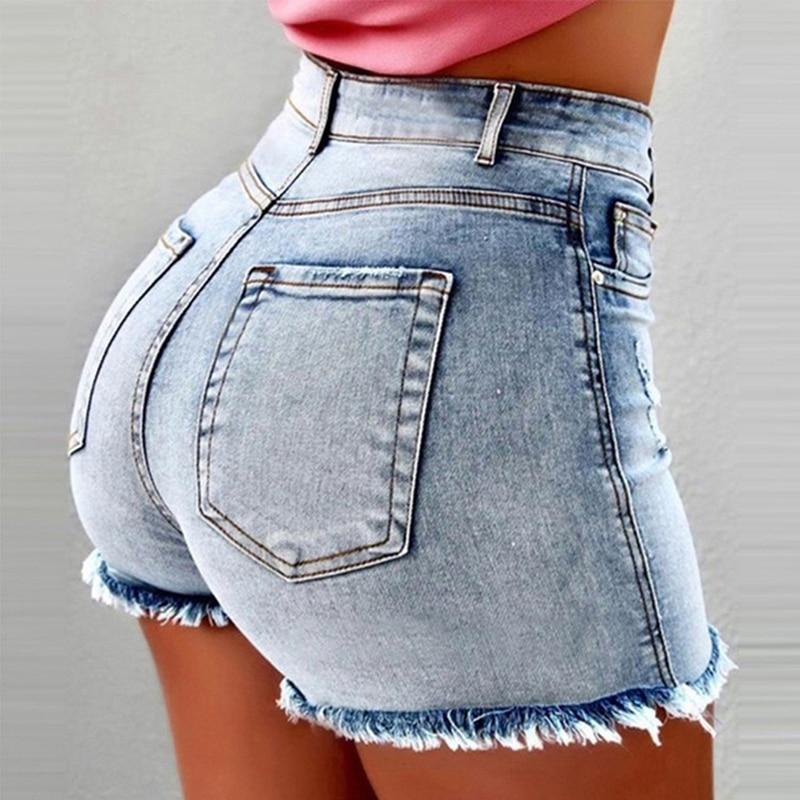 2020 Fashion Summer Women Tassel Shorts Solid Color Casual Ladies Shorts High Waist High Waist Hole Female Denim Shorts
