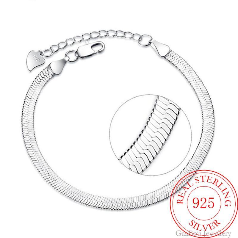 925 Sterling Silver Lucky Bracelets Cuff Fashion Chain Bangle Flat Snake Link Women Men Jewelry Pulseira Masculina
