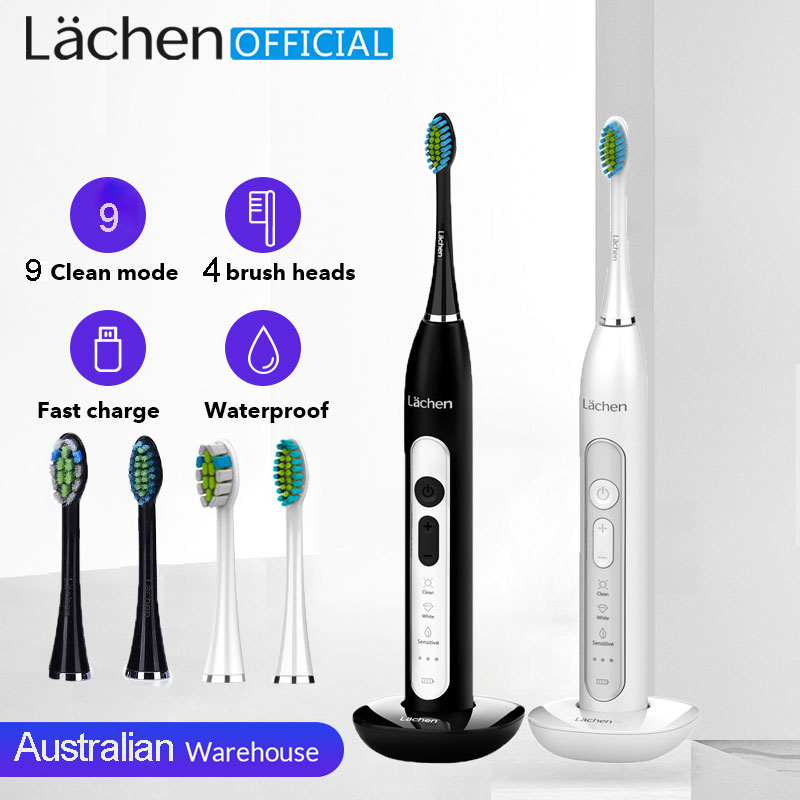 Lachen T8 Sonic Electric Toothbrush Rechargeable USB Charger Ultrasonic Teeth Brush for Adults 4 Replacement Heads