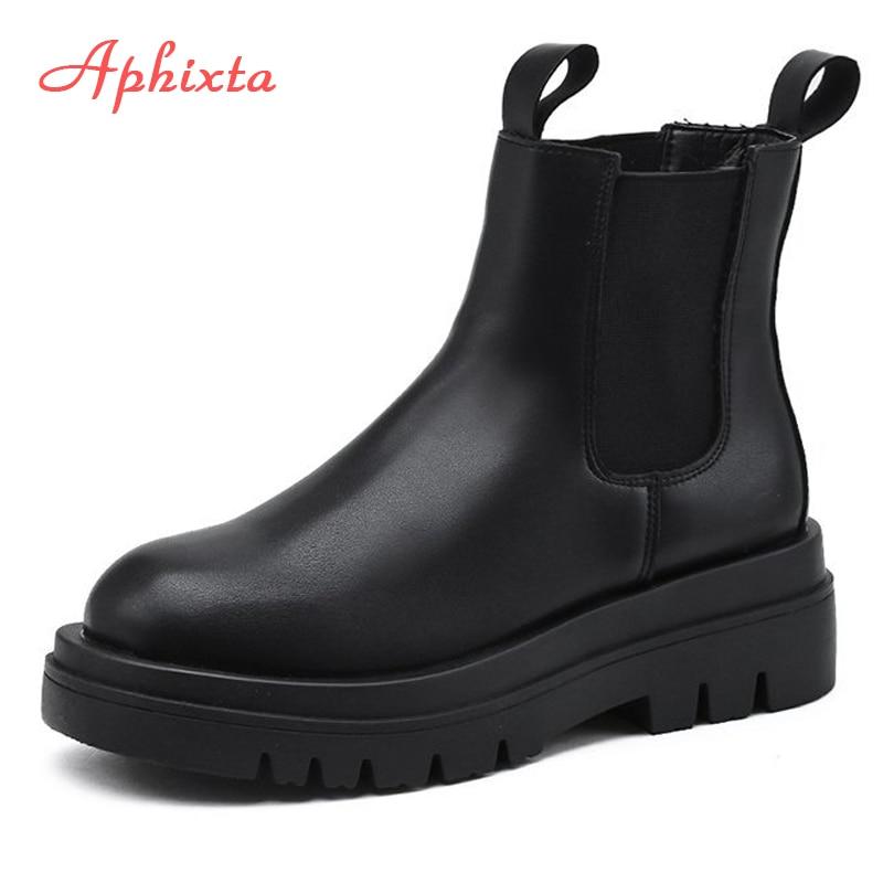 Aphixta Plus Large Szie 42 43 Boots Women Elastic Band 5cm Chunky Heel Antiskid Fashion Platform Ankle Boots Shoes Woman Boats