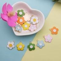 10pcs drop oil flower alloy charms little flowers enamel pendant charms fit making bracelet earring jewelry diy accessory yz852