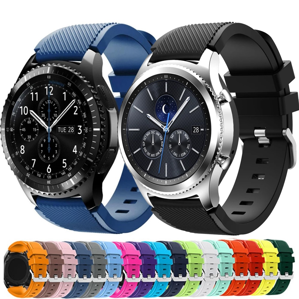 20mm 22mm Band for Samsung Galaxy Watch 3/46mm/42mm/active 2/46 Gear s3 Frontier/S2/Sport silicone bracelet Huawei GT 2/2E strap