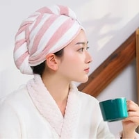 2 pieces of cartoon microfiber turban fast drying hair hat wrapped towel shower cap send hair band