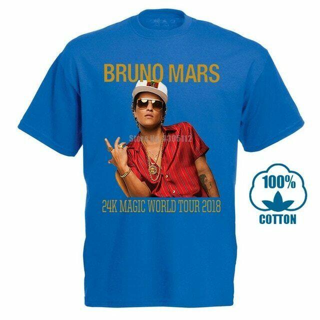 Camiseta de Fecha de la gira mundial de concierto de la banda de Rock de Bruno Mars 2018, camiseta de regalo Vintage para hombre