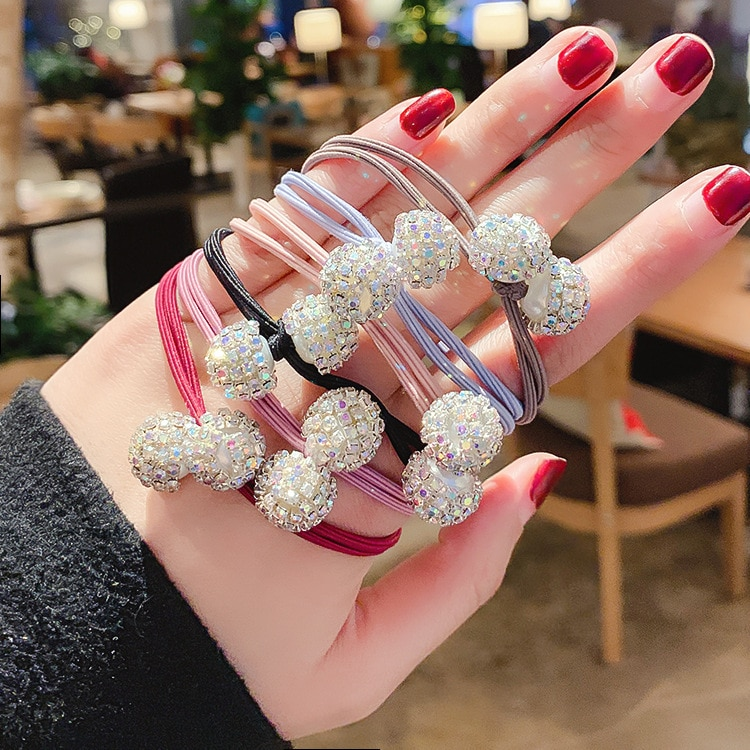 Faixas de Cabelo de Cristal Elástico de Cabelo Lote Bolas Faça Você Mesmo Simples Broca Dupla Camada Bowknot Styling Ferramentas Acessórios Ha1050 120 Pçs – 2
