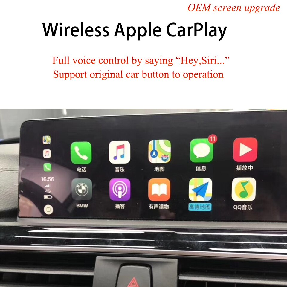 Coche Android Auto iPhone IOS inalámbrico inteligente CarPlay para BMW EVO IDrive 4 5 6 Original de todas las Series