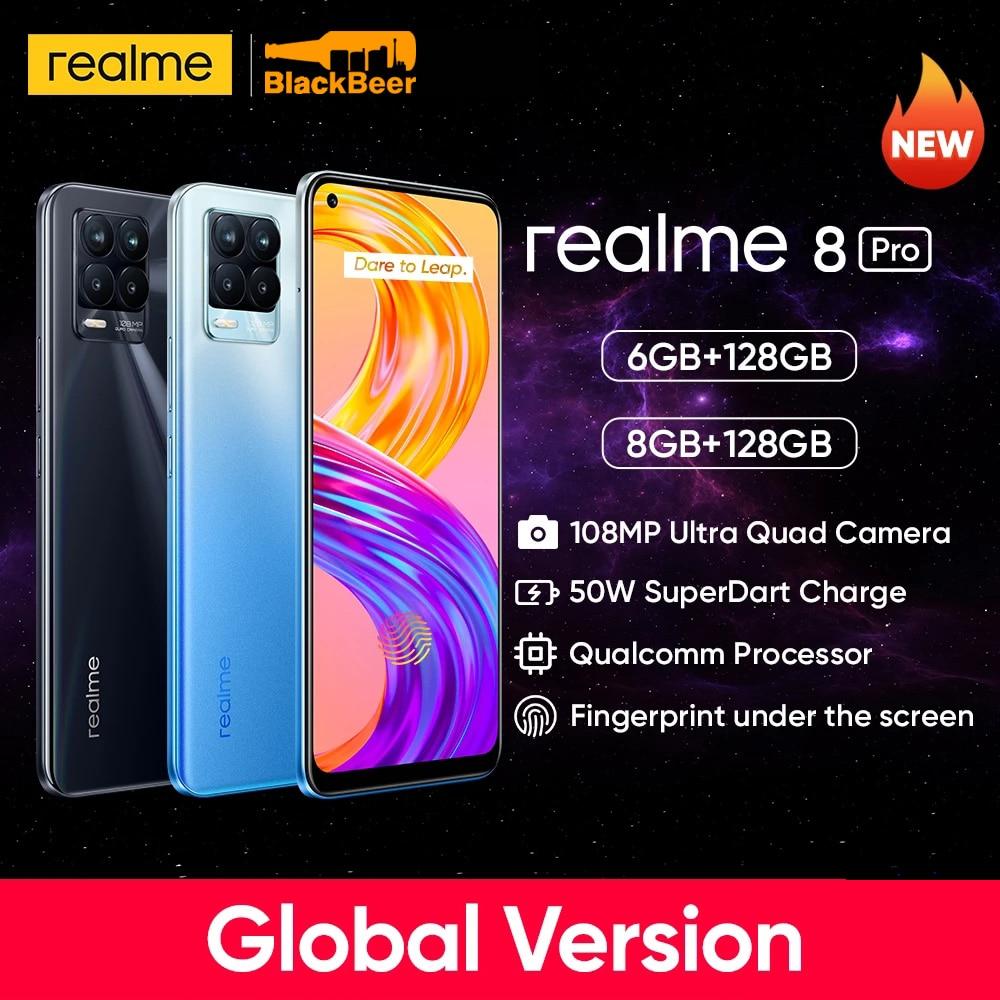Перейти на Алиэкспресс и купить Realme 8 Pro 8pro Android 11 смартфон 8 Гб 128 ГБ Snapdragon 720G мобильный телефон 50 Вт суперзарядка мобильный телефон Глобальная версия 4500 мАч