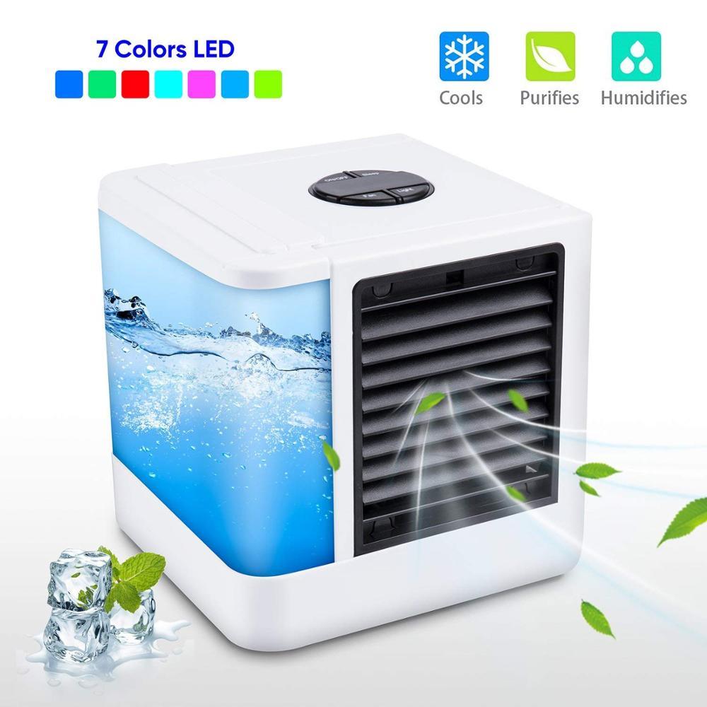 Mini ventiladores enfriadores de aire acondicionado USB, mini ventilador portátil de mesa para oficina, hogar, luz de 7 colores