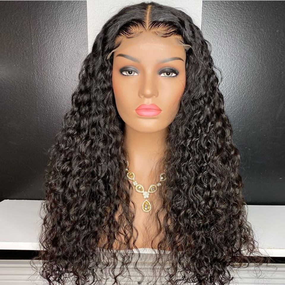 KISSU wholesale deep Culry lace front human hair wig Brazilian lace front human hair wigs for women 4x4 lace closure frontal wig