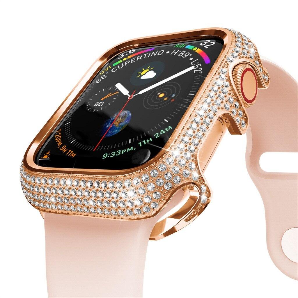 18k chapado en oro rosa 368 diamante funda bisel para iWatch Serie 4/5 40mm funda de pulsera accesorios de relojes inteligentes
