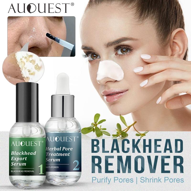 AuQuest Face Serum Nose Against Black Dots Acne Blackhead Remover Shrink Pore Oil Control Essence Fa